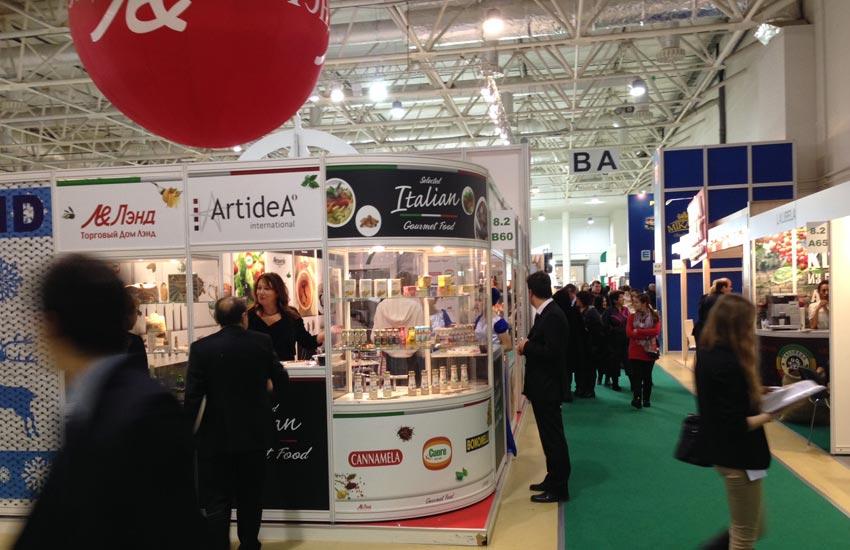 progettazione stand per Prodexpo fiera alimentare di settore per il mercato russo